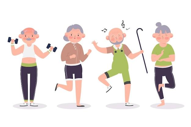Raccolta di persone anziane attive