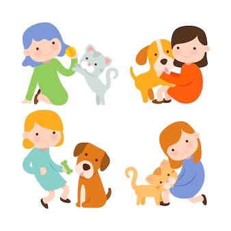 Raccolta di persone che amano i loro animali domestici