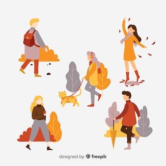 Raccolta di persone che camminano in autunno