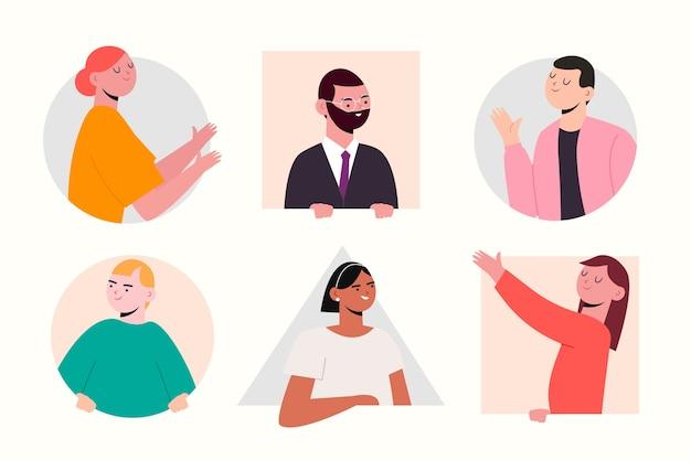 Raccolta di persone che fa capolino dell'illustrazione
