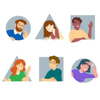 Raccolta di persone che fa capolino illustrata