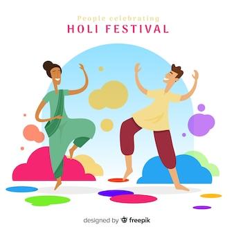 Raccolta di persone che godono holi festival