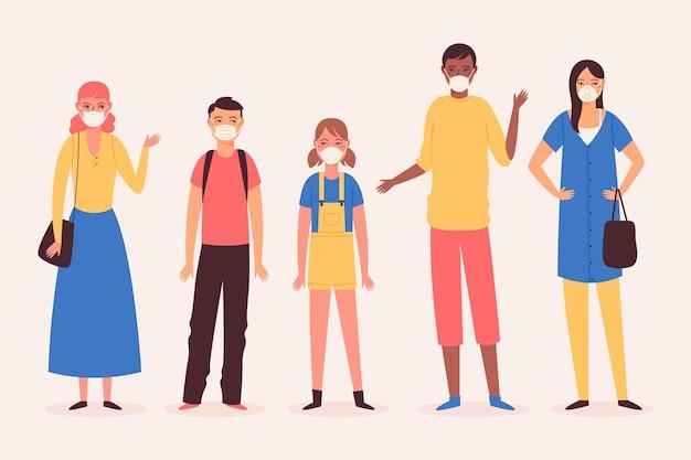 Raccolta di persone che indossano maschere mediche