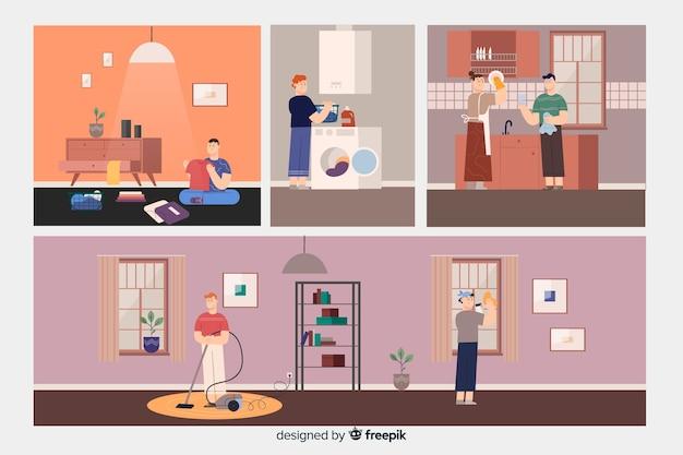 Raccolta di persone che puliscono la casa