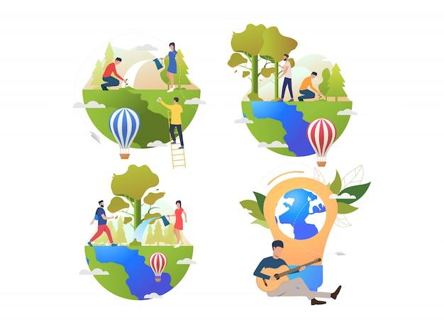 Raccolta di persone che si prendono cura della terra