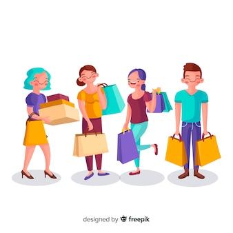 Raccolta di persone che trasportano borse della spesa