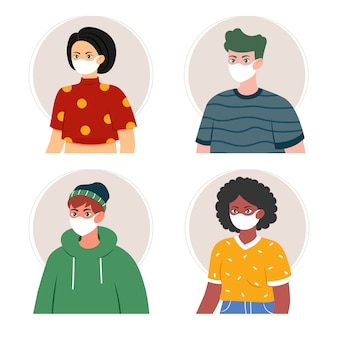 Raccolta di persone con maschere mediche