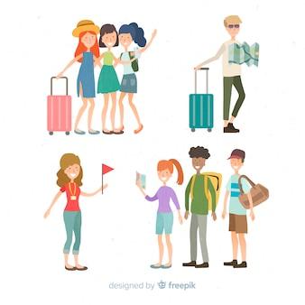 Raccolta di persone disegnate a mano in viaggio