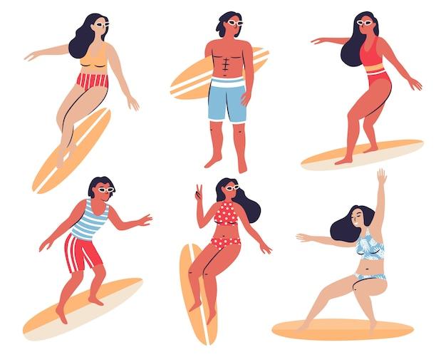 Raccolta di persone felici con surf isolato su bianco