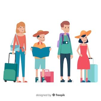 Raccolta di persone in viaggio
