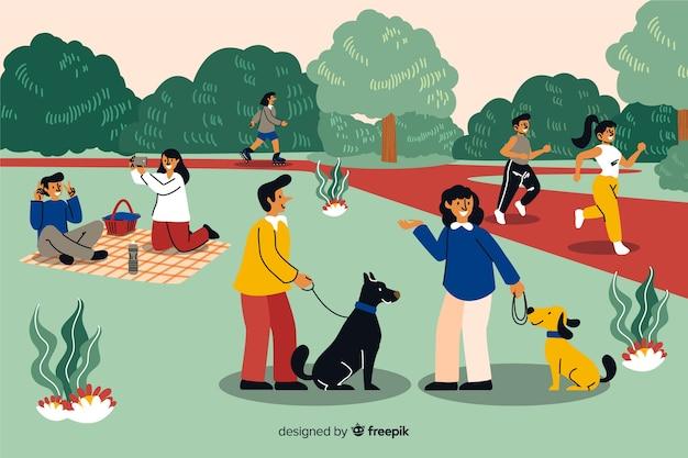Raccolta di persone nel parco
