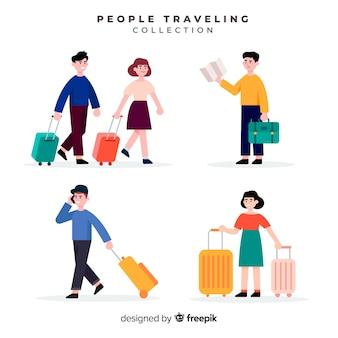 Raccolta di persone piatte in viaggio