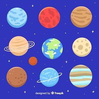 Raccolta di pianeti colorati della via lattea