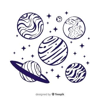 Raccolta di pianeti disegnati a mano in stile doodle