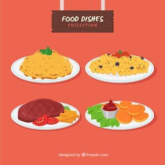 Raccolta di piatti con design piatto