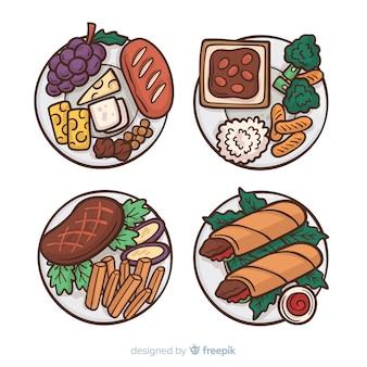 Raccolta di piatti di cibo disegnato a mano