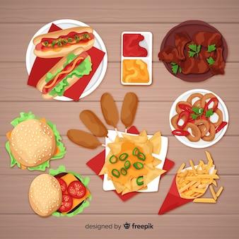 Raccolta di piatti di cibo realistico