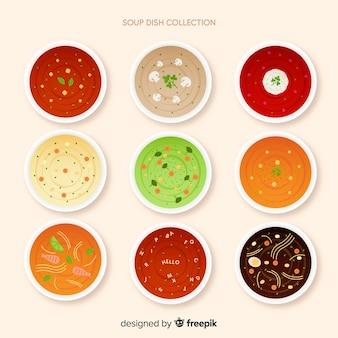Raccolta di piatti di zuppa
