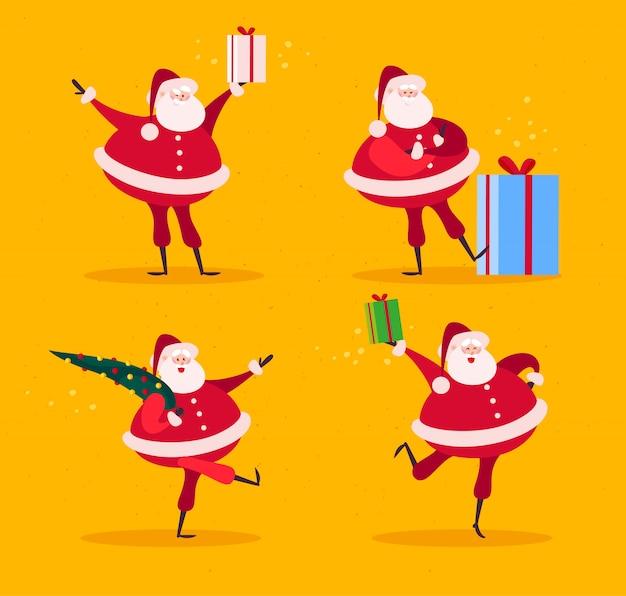 Raccolta di piatti divertenti personaggi di babbo natale con abete e scatole regalo isolati su sfondo giallo. stile cartone animato. buono per carta di natale e capodanno, banner, web, depliant, poster ecc