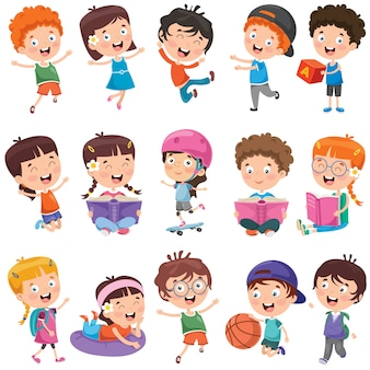Raccolta di piccoli bambini cartone animato