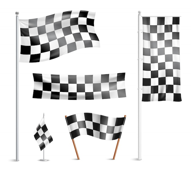 Raccolta di pittogrammi bandiere a scacchi