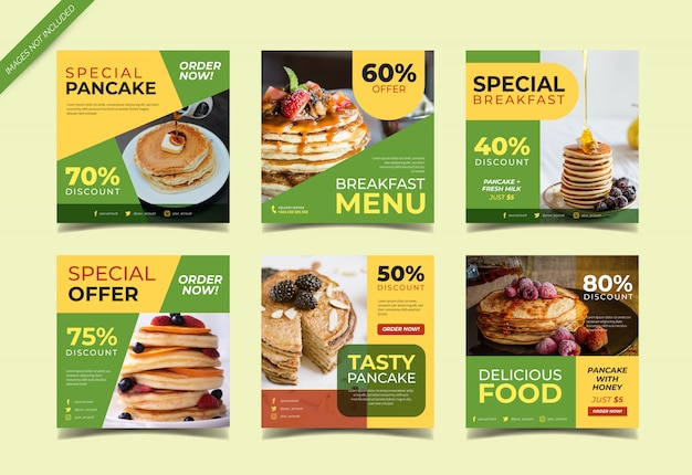 Raccolta di post di instagram del menu dei pancake