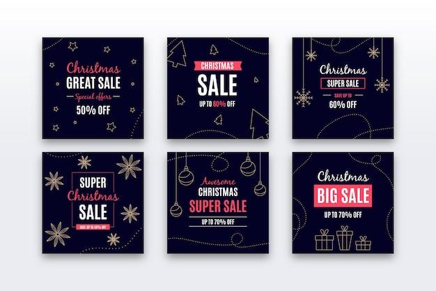 Raccolta di post di instagram di vendita di natale