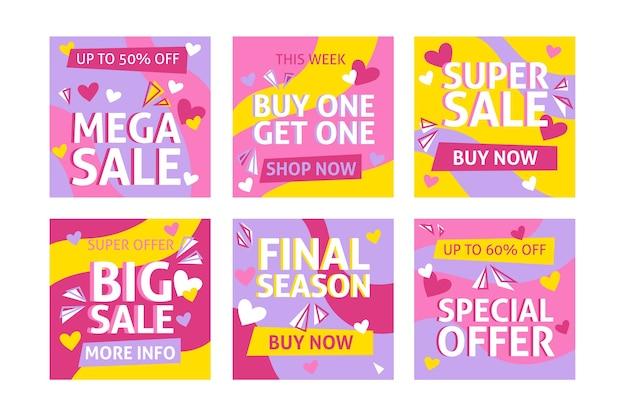 Raccolta di post di instagram di vendita di san valentino