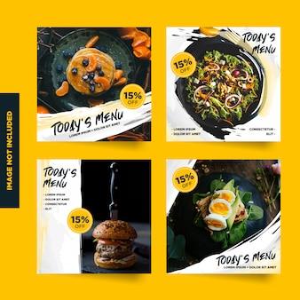 Raccolta di post promozionali dei menu sui social media