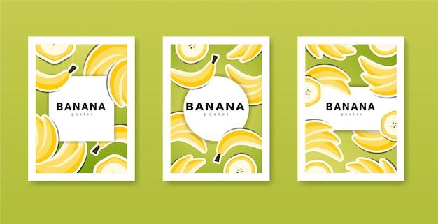 Raccolta di poster con banane frutta vettoriale e luogo per il vostro testo. poster di cibo di banana