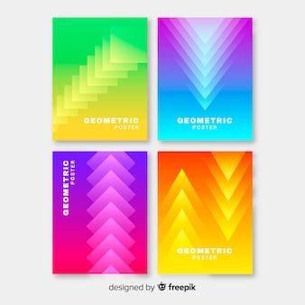 Raccolta di poster sfumatura colorata geometrica