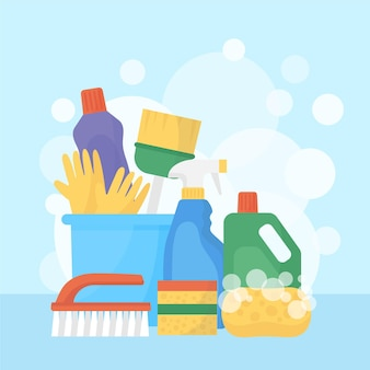 Raccolta di prodotti per la pulizia delle superfici