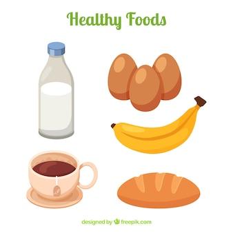 Raccolta di prodotti sani nel design piatto