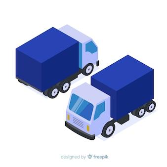 Raccolta di prospettive di camion isometrica