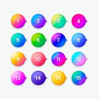 Raccolta di pulsanti sfumati colorati