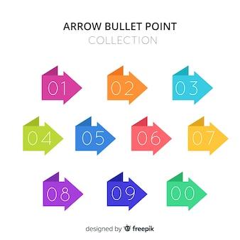 Raccolta di punti bullet frecce piatte