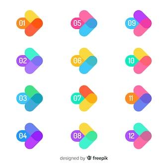 Raccolta di punti di proiettile freccia colorata