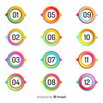 Raccolta di punti di proiettili colorati piatti