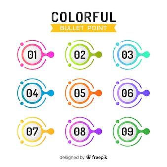Raccolta di punti elenco colorato astratto