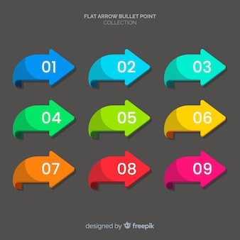 Raccolta di punto di proiettile frecce colorate