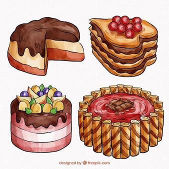 Raccolta di quattro bellissime torte acquerello