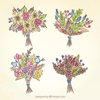 Raccolta di quattro mazzi di fiori