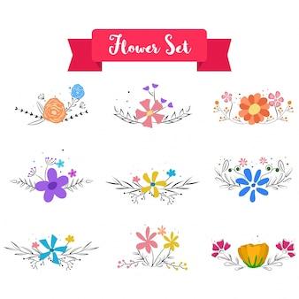 Raccolta di rami di fiori dell'acquerello, ghirlande floreali, bouquet artistico.