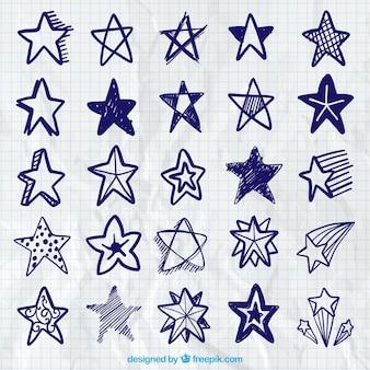 Raccolta di scarabocchi blu stelle