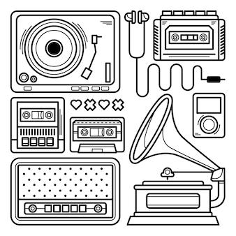 Raccolta di scarabocchi lettore musicale