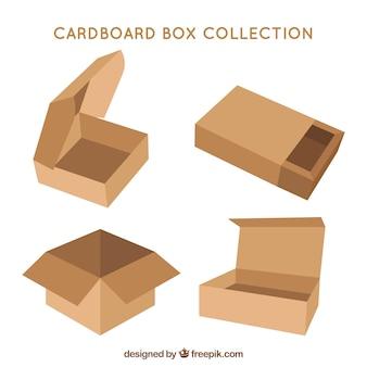 Raccolta di scatole di cartone per la spedizione in stile piatto