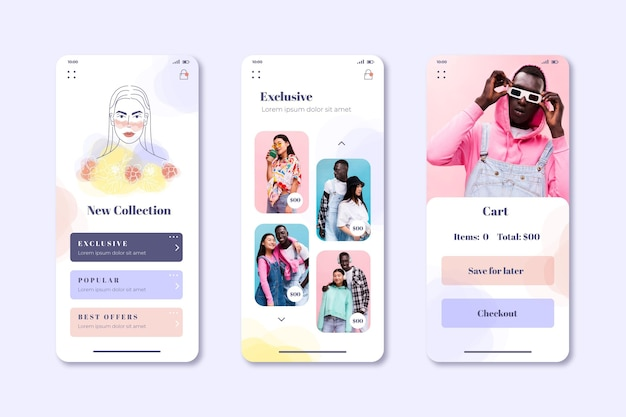 Raccolta di schermate di app per lo shopping di moda