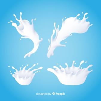 Raccolta di schizzi di latte realistico
