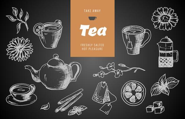 Raccolta di schizzi disegnati a mano sul tema del tè.