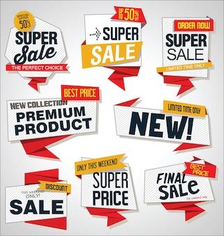 Raccolta di sconti di vendita e banner ed etichette di promozione